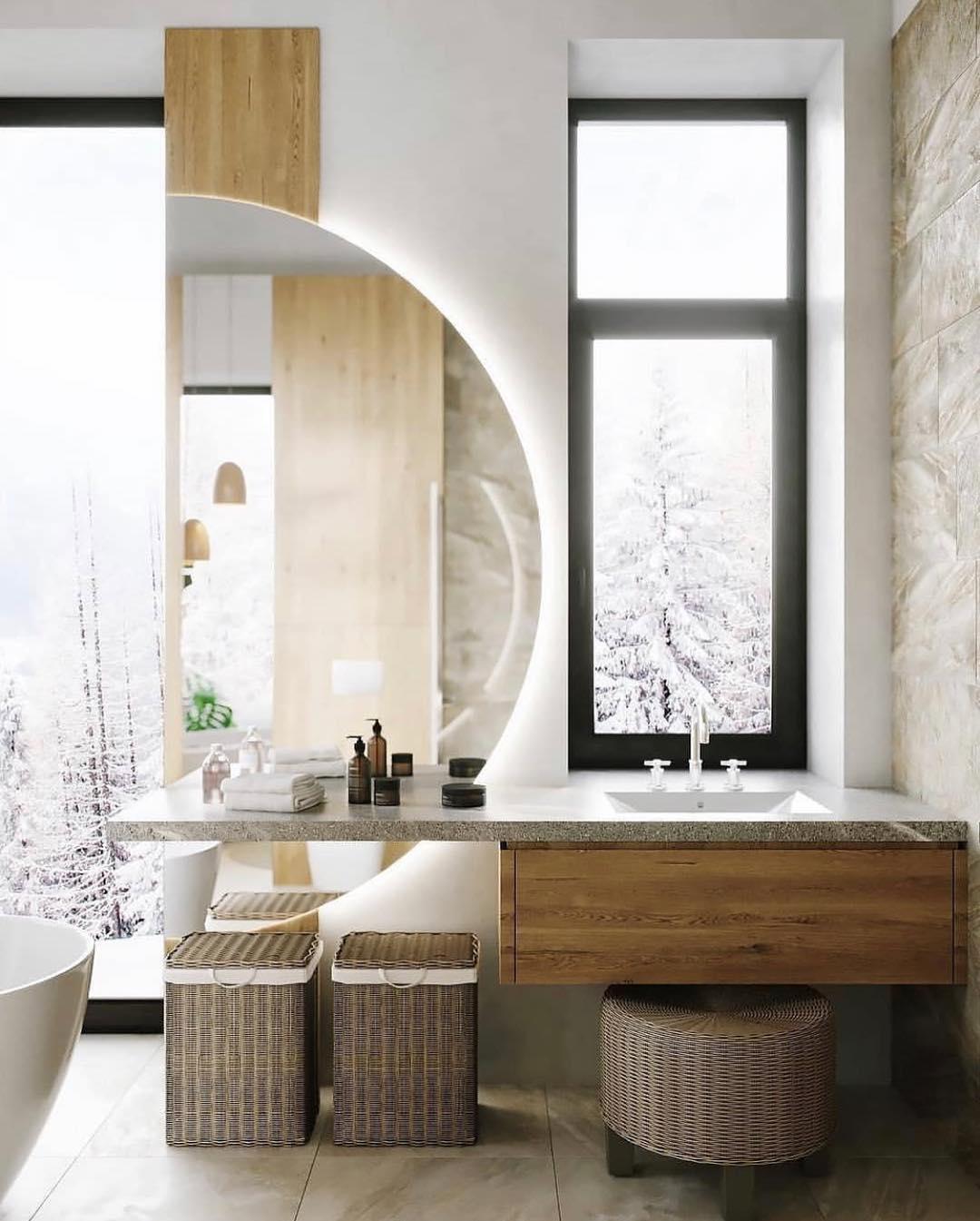 طراحی خلاقانه دیزاین حمام در بالکن با گیاهان